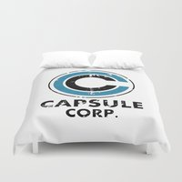 dragonball Duvet Covers featuring Capsule Corp Vintage bright by Karlangas