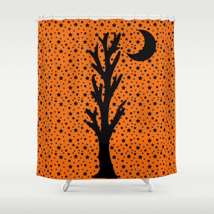 Barren Black Tree Silhouette Stars Crescent Moon Orange Shower Curtain