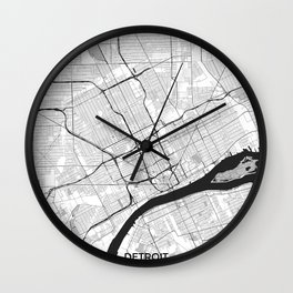 Detroit Map Gray Wall Clock