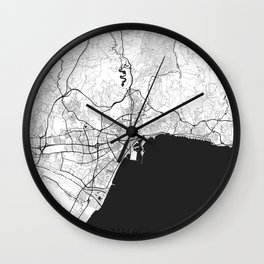 Malaga Map Gray Wall Clock