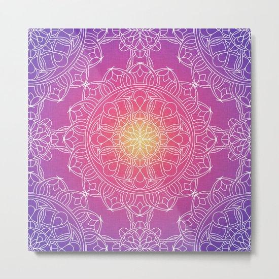 White Lace Mandala in Purple, Pink, and Yellow Metal Print