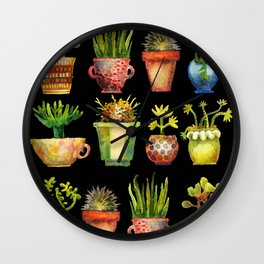 Succulents All in a Row Wall Clock