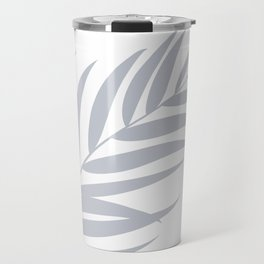 Light Pastel Gray White Coastal Frond Palm leaf Travel Mug