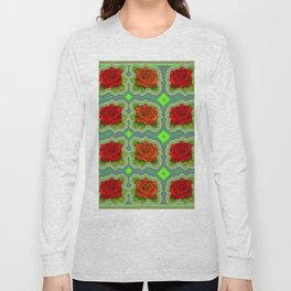 Roses-on-green-pattern Long Sleeve T-shirt