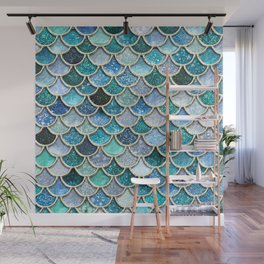 Multicolor Aqua Mermaid Scales - Beautiful Abstract Glitter Pattern Wall Mural