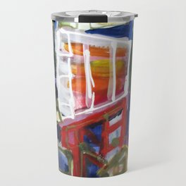 Walking Street Abstract City Scape Blue Red Yellow White Geometric Travel Mug