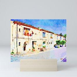 Borrello: street with buildings Mini Art Print