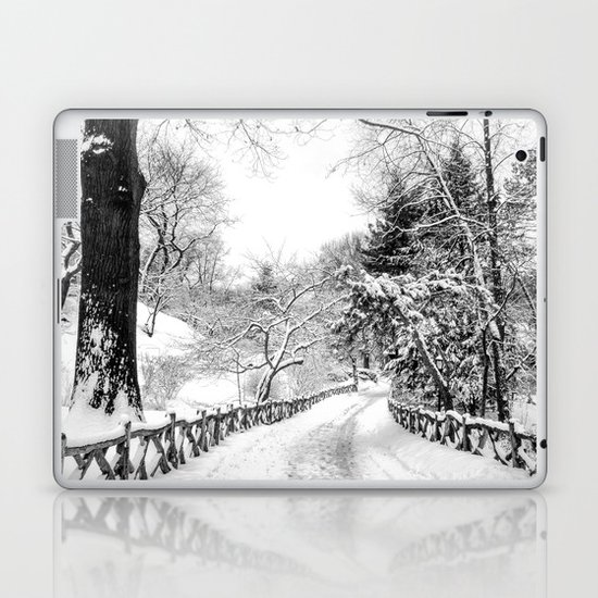 Central Park Winter Path in Shakespeare Garden Laptop & iPad Skin