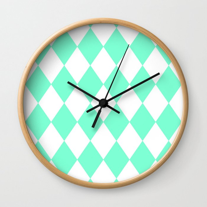 Diamonds (Aquamarine/White) Wall Clock