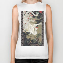 Jakuchu Phoenix with Hemp Pattern Background Biker Tank