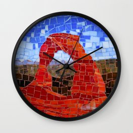 Delicate Arch - Arches National Park Utah - Stained Glass Mosaic Wall Clock