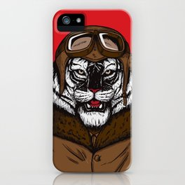 White Tiger Pilot iPhone Case