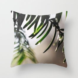 Droplets on a pine tree Throw Pillow