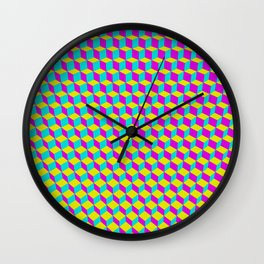 Colorful 3D Cubes Pattern Wall Clock