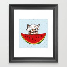 Cat and watermelon Framed Art Print