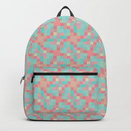Neon teal pixel play mosaic Backpack