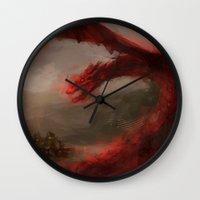 smaug Wall Clocks featuring Smaug 2 by nlmda