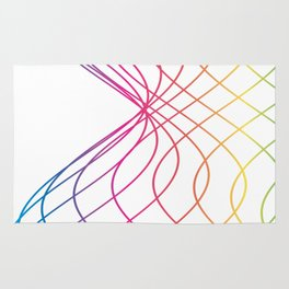 RAINBOW COLORED LINES Abstract Art Rug