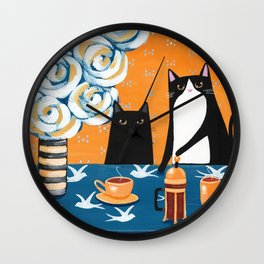 Orange and Blue French Press Cats Wall Clock