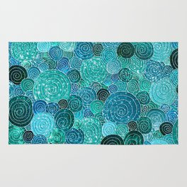Abstract blue& green glamour glitter circles and dots for Girls and ladies Rug