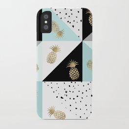 Pastel color block watercolor dots faux gold pineapple iPhone Case