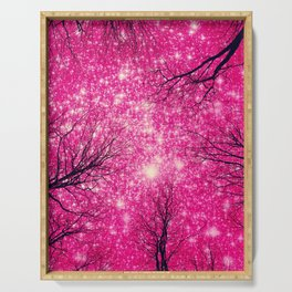 Black Trees Coral Pink Space Serving Tray