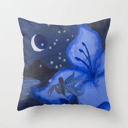 Blue Night Fairy Throw Pillow