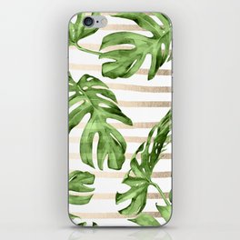 Simply Tropical White Gold Sands Stripes and Palm Leaves iPhone Skin