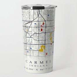 Carmel Indiana Map with GPS location Travel Mug