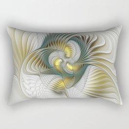 Noble And Golden, Abstract Modern Fractal Art Rectangular Pillow