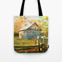 cabin Tote Bags featuring Pucketts Cabin by ThePhotoGuyDarren