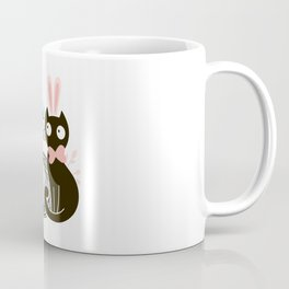 Happy Easter - Cute Black Cat with pink Bunny ear and blue Spring butterfly Coffee Mug