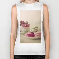 macaroons Biker Tanks featuring Lilac and Macaroons by Olivia Joy StClaire