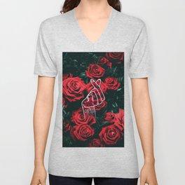 Love Finger Snap Roses Unisex V-Neck