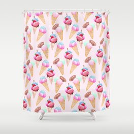 Ice cream Pattern summer cool watercolor Shower Curtain
