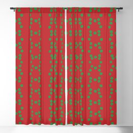 Christmas vector green circle dots aligned on red background Blackout Curtain