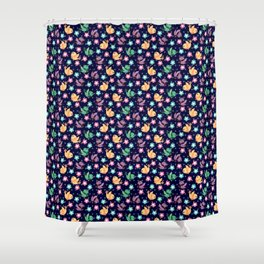 Freely Birds Flying - Fly Away Version 3 - Berry Blue Color Shower Curtain