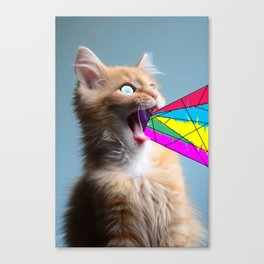 trippy cat Canvas Print
