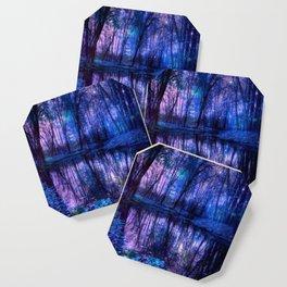 Enchanted Forest Lake Purple Blue Coaster