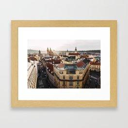 Prague Cityscape at sunset Framed Art Print