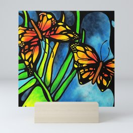 Beautiful Monarch Butterflies Fluttering Over Palm Fronds by annmariescreations Mini Art Print