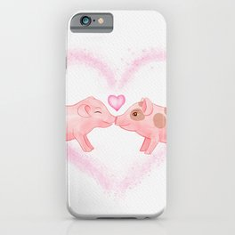Cute and Sweet Little Piglets in Love, Watercolor Hand-painted Print, I Love You Gift With Animals iPhone Case
