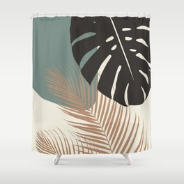 Minimal Monstera Palm Finesse #1 #tropical #decor #art #society6 Shower Curtain