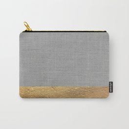 Color Blocked Gold & Grey Carry-All Pouch