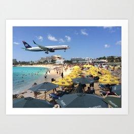Landing at Maho Beach Art Print