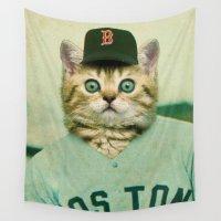 baseball Wall Tapestries featuring Baseball Cat by Luigi Tarini