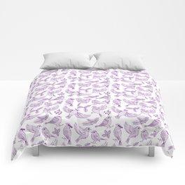 Winter Birds and Foliage Pattern (Purple) Comforters