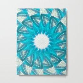 Cyan Glow Kaleidoscope 8 Metal Print