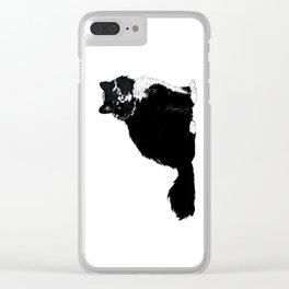Black and White Cat Clear iPhone Case