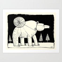 'Polar Bear & Moon' Art Print